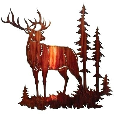 Lazart Metal Wall Art With Regard To Well Liked Lazart Metal Wall Art Majestic Bull Elk Wall Art Honey Pinion Lazart (View 3 of 15)