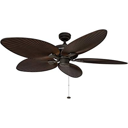 Leaf Blades Outdoor Ceiling Fans Inside Recent Amazon: Honeywell Palm Island 52 Inch Tropical Ceiling Fan, Five (View 2 of 15)