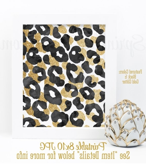 Leopard Print Wall Art Intended For Fashionable Abstract Art Print – Black Gold Glitter Watercolor Leopard Print (View 11 of 15)