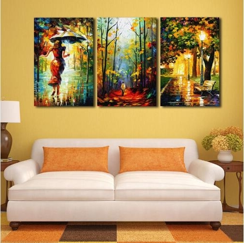 Light Abstract Wall Art Pertaining To 2017 3 Piece Unframed Abstract Canvas Painting Wall Art Street Light (View 5 of 15)