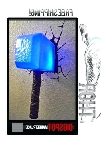 Light: Marvel Avengers Hammer Wall Art Night Light W Decal 3D Thor Intended For Favorite Thor Hammer 3D Wall Art (View 4 of 15)