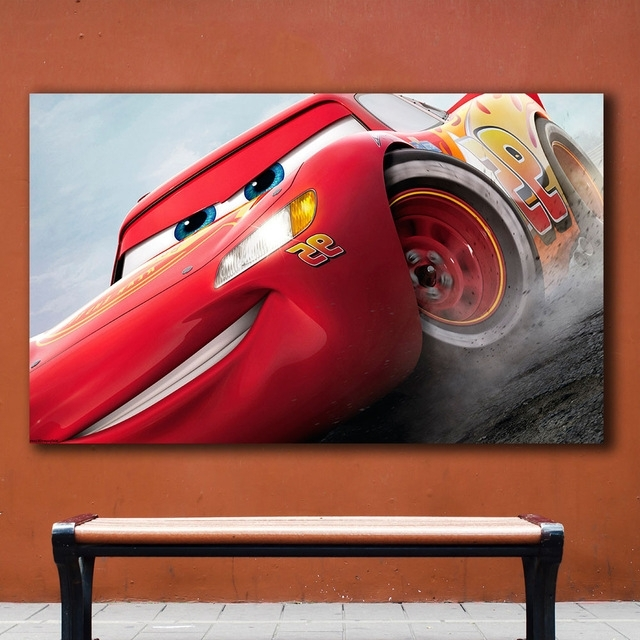 Lightning Mcqueen Wall Art Throughout Well Liked Fashion Oil Painting Cars 3 Lightning Mcqueen Home Decor On Canvas (View 2 of 15)