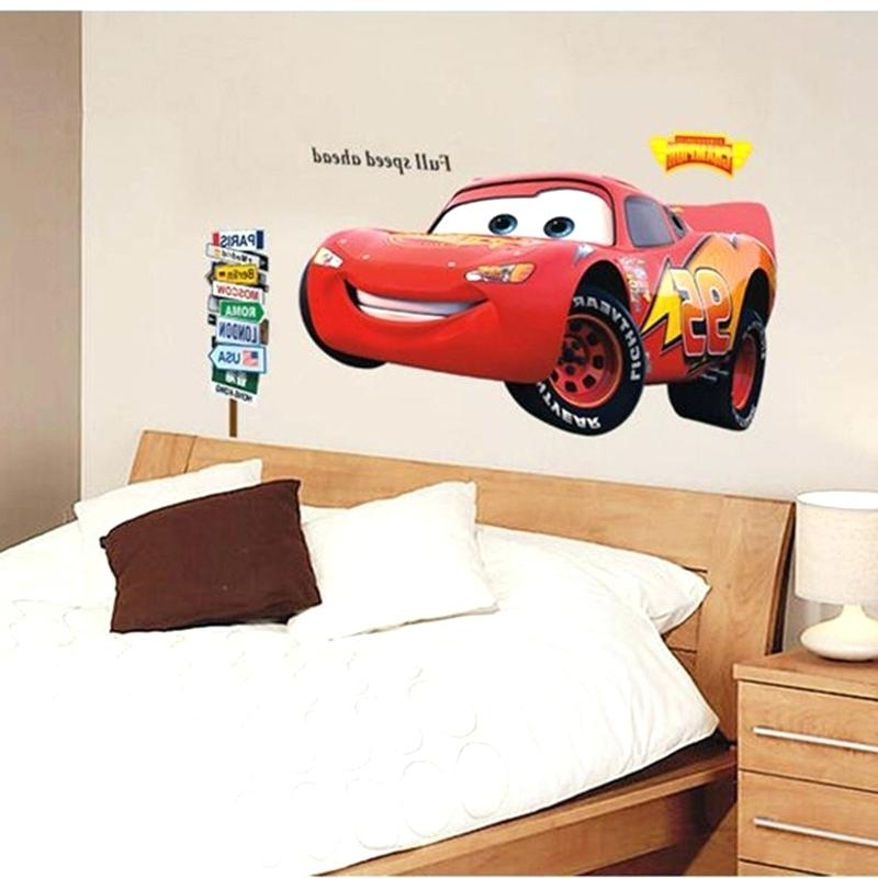Lightning Mcqueen Wall Decal Vinyl Cartoon Lightning Wall Sticker Inside Most Up To Date Lightning Mcqueen Wall Art (View 13 of 15)