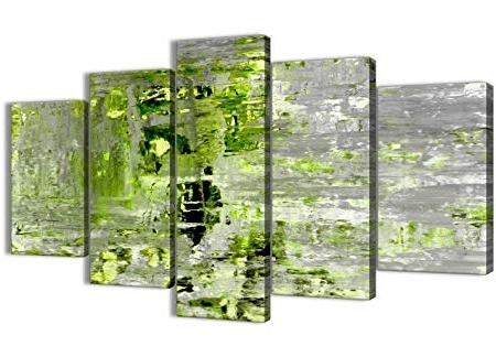 Lime Green Abstract Wall Art Regarding 2018 Wallfillers Extra Large Lime Green Grey Abstract Painting Wall Art (View 8 of 15)