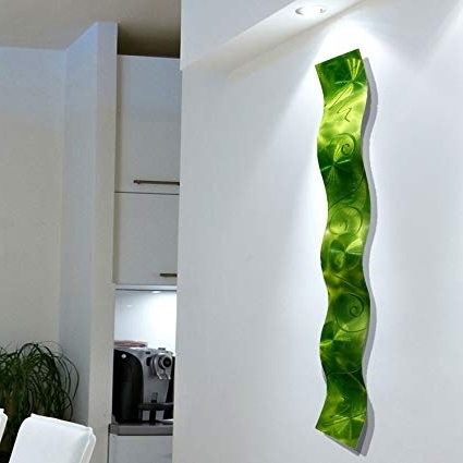 Lime Green Metal Wall Art In Popular Amazon: Lime Green 3D Abstract Metal Wall Art Sculpture Wave (View 2 of 15)