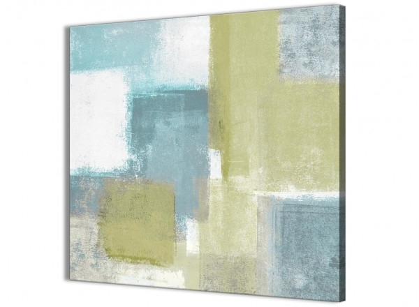 Lime Green Teal Abstract Painting Canvas Wall Art Print – Modern In Current Lime Green Abstract Wall Art (View 10 of 15)