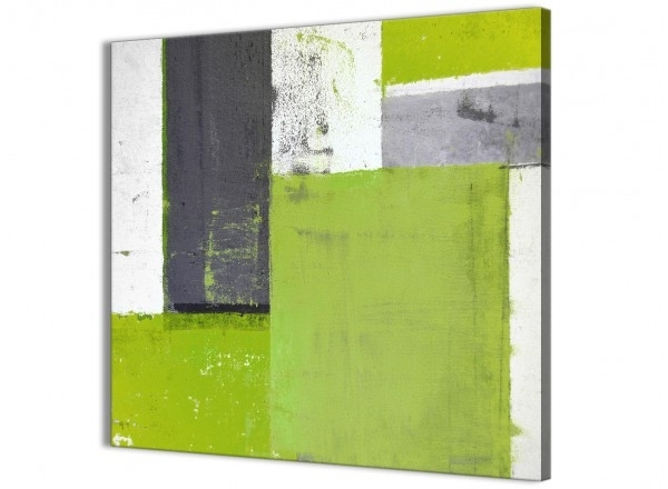 Lime Green Wall Art Pertaining To Most Recently Released Lime Green Grey Abstract Painting Canvas Wall Art Print – Modern (View 6 of 15)