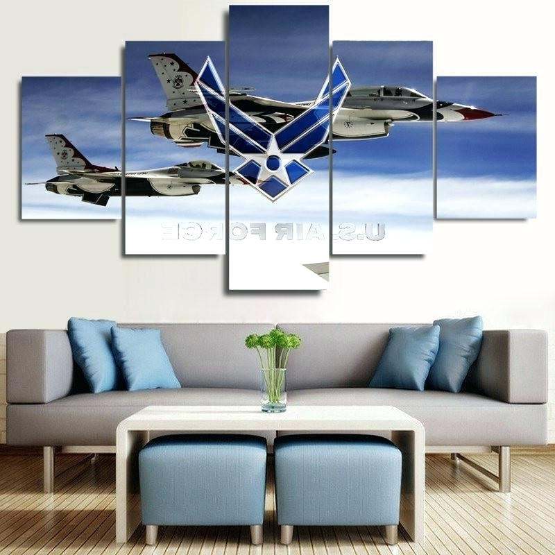 Limited Edition Canvas Wall Art With Regard To Most Popular Airplane Canvas Wall Art Air Force F Fighters 5 Piece Canvas Wall (View 9 of 15)