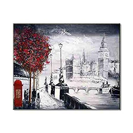 London Scene Wall Art With Regard To Most Current London Red Tree Famous Street Scene Embankment Bigben Towerbridge (View 5 of 15)