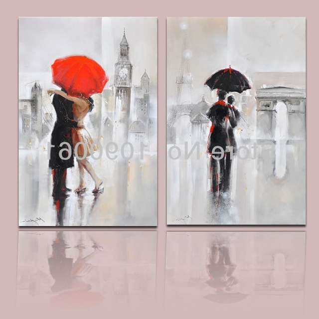 London Scene Wall Art With Regard To Most Popular Hand Painted Lovers In The Rain In London And Paris Street Scene Oil (View 6 of 15)