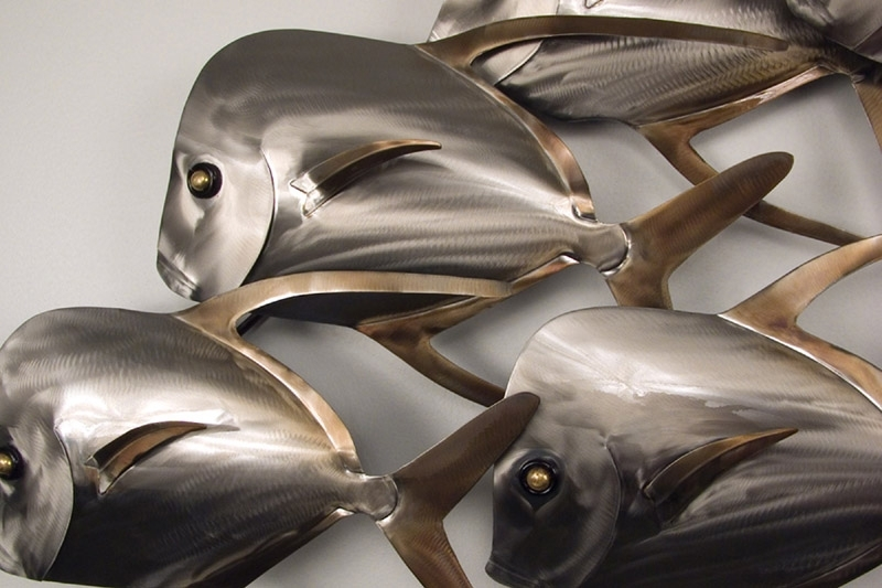 Lookdown Fish School Of 18 Pertaining To Newest Stainless Steel Fish Wall Art (View 10 of 15)