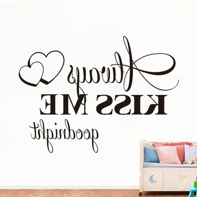 Love Always Kiss Me Goodnight Quote Wall Art Sticker – Bedroom Within 2017 Love Coco 3D Vinyl Wall Art (View 12 of 15)