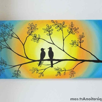 Love Birds In Tree Abstract Acrylic From Paintspiration (View 10 of 15)