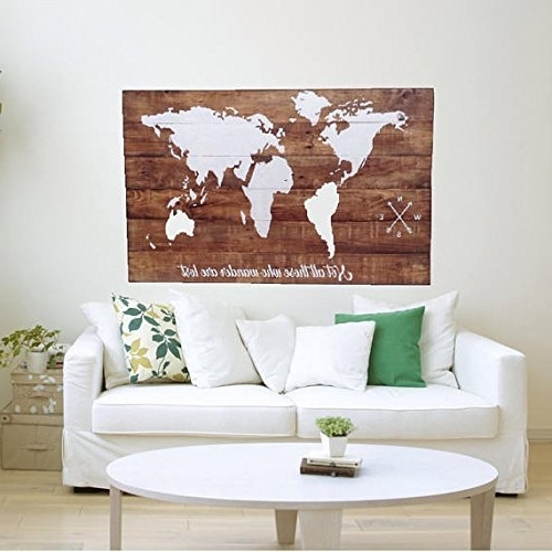 Maps For Wall Art Pertaining To Favorite Amazon: Wood World Map Wall Art / Large Wall Art Map / Reclaimed (View 6 of 15)