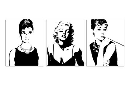 Marilyn Monroe Black And White Wall Art With Preferred Amazon: Espritte Art Large Classic Marilyn Monroe And Audrey (View 11 of 15)