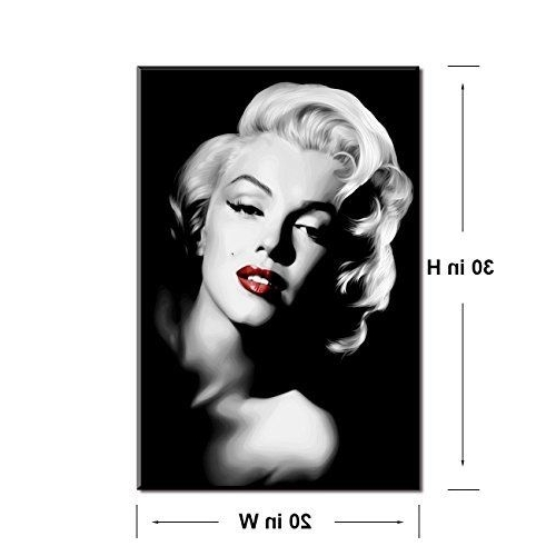 Marilyn Monroe Framed Wall Art Pertaining To Trendy Marilyn Monroe Red Lips Picture On Canvas Wall Art Painting Black (View 3 of 15)
