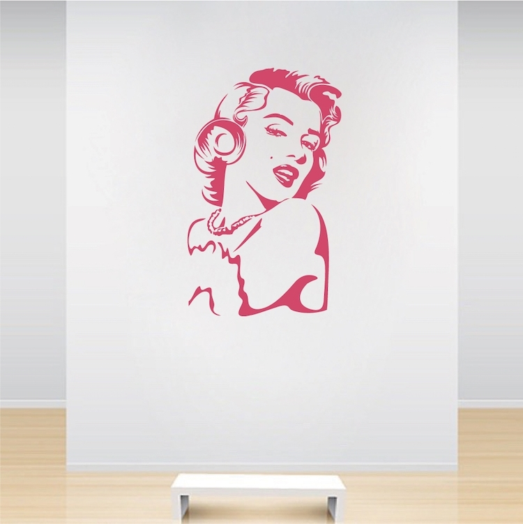 Marilyn Monroe Vinyl Wall Decal Art   Interior Wall Murals   Trendy Within Well Known Love Coco 3D Vinyl Wall Art (View 8 of 15)