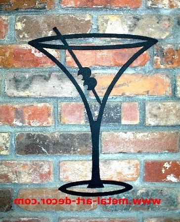 Martini Glass Restaurant Bar Modern Wall Art Decor For 2017 Martini Glass Wall Art (View 2 of 15)
