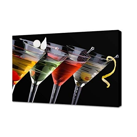 Martini Glass Wall Art With Regard To Newest Clearance Sale Cocktail Glasses Wall Art – 80X48Cm Canvas Print (View 12 of 15)