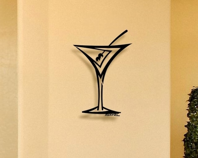 Martini Metal Wall Art Intended For 2018 Straight Martini – 3D Metal Wall Art – Home Decor – Contemporary (View 7 of 15)