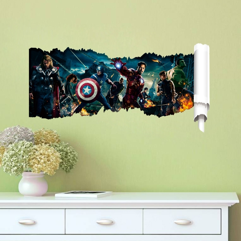 Marvel 3D Wall Art In Most Popular Hot 3D The Avengers Wall Stickers Home Vinyl Diy Kids Room Wall (View 6 of 15)