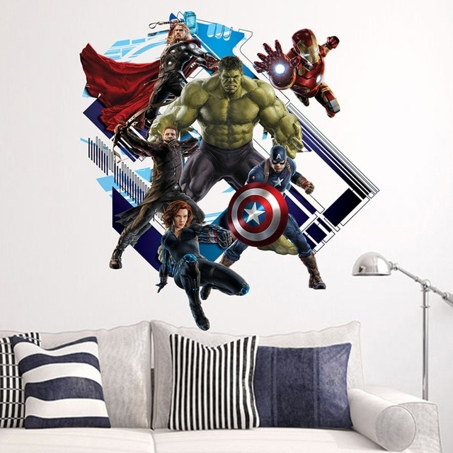 "Marvel 3D Wall Art Throughout Fashionable Creative Home Decor 3D Wall Stickers Movie Star ""marvel's The (View 8 of 15)"