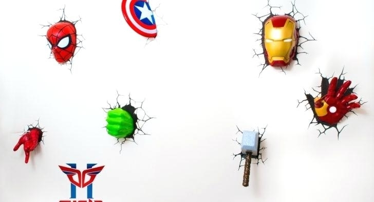 Marvel 3D Wall Art Within Widely Used Light: 3D Wall Light Marvel (View 9 of 15)