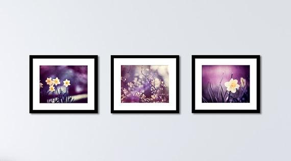 Marvellous Design Purple Wall Art Set Dark Plum Yellow Nature Flower With Regard To Recent Plum Wall Art (View 11 of 15)