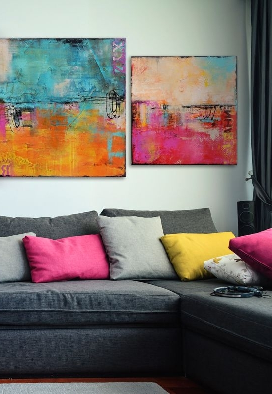 Matching Canvas Wall Art Inside Fashionable Erin Ashley's Incredible Matching Abstract Canvas Prints Brighten Up (View 6 of 15)