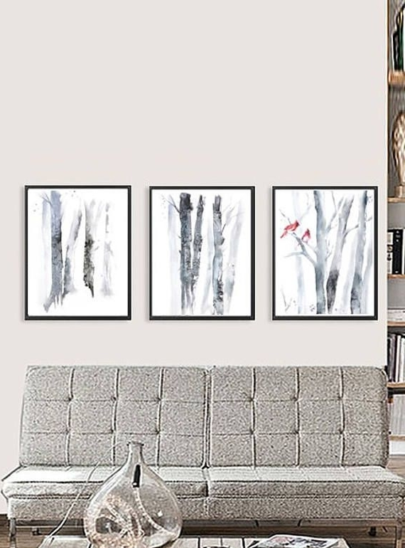 Matching Wall Art Set For Latest Set Of 3 Wall Art, Set Of 3 Prints, Three Piece Wall Art Birch (View 13 of 15)