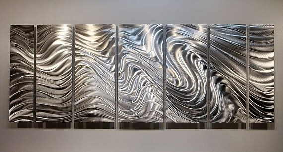 Metal Abstract Wall Art In Preferred Large All Natural Silver Contemporary Metal Art – Modern Wall (View 7 of 15)
