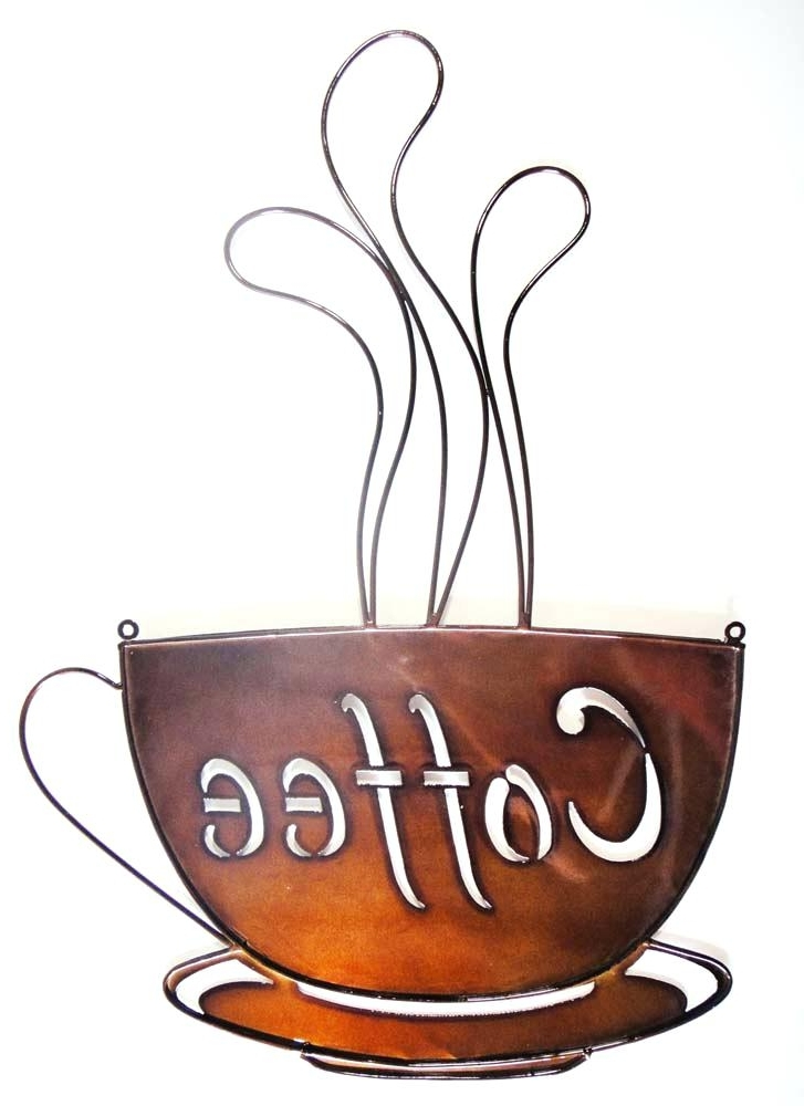 Metal Coffee Cup Wall Art Throughout Popular Metal Coffee Cup Wall Decor For Kitchen Port Sign – Mancinilasolas (View 8 of 15)