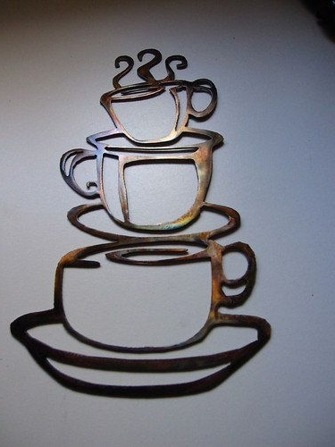 Metal Coffee Cup Wall Art With Regard To Current Coffee Cups Kitchen Home Decor Metal Wallheavensgatemetalwork (View 9 of 15)
