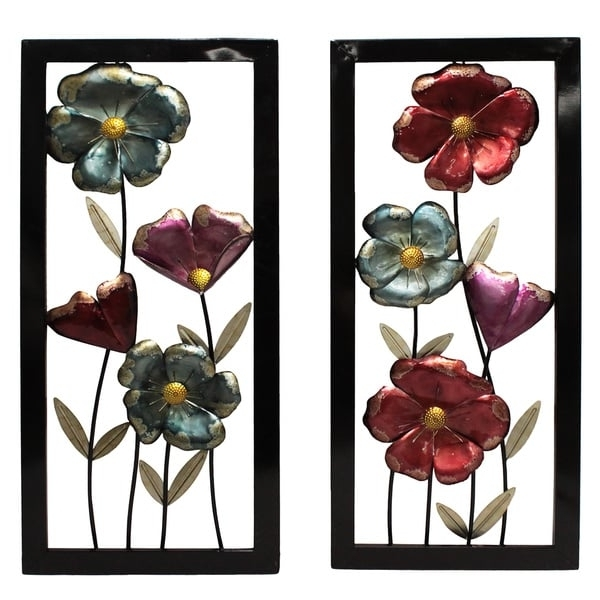 Metal Framed Wall Art Within Most Up To Date Shop Garden Flowers Framed Metal Wall Decor – Set Of 2 – Free (View 5 of 15)