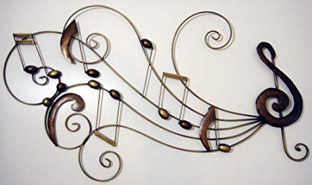 Metal Music Wall Art Pertaining To Trendy Wall Art – Metal Wall Art – Music Scroll Notes Score: Amazon.co (View 5 of 15)