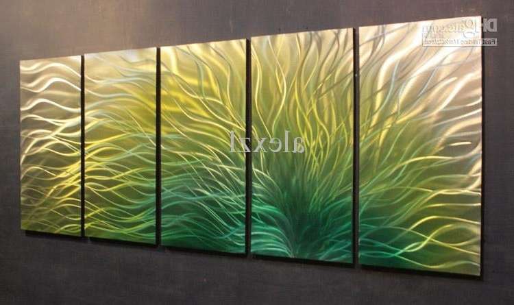 Metal Oil Painting,abstract Metal Wall Art Sculpture Painting Green In Current Yellow And Green Wall Art (View 3 of 15)
