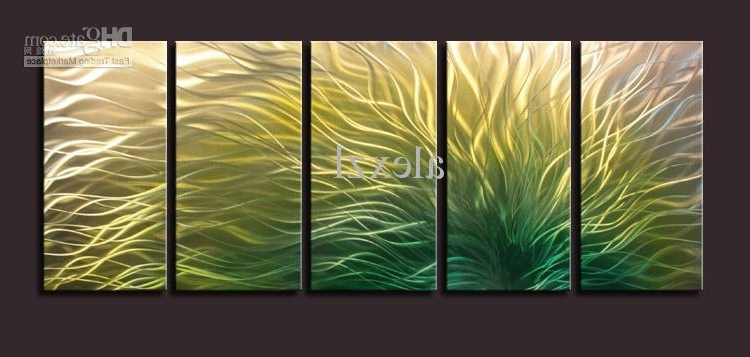 Metal Oil Painting,abstract Metal Wall Art Sculpture Painting Green Intended For Most Up To Date Yellow And Green Wall Art (View 11 of 15)