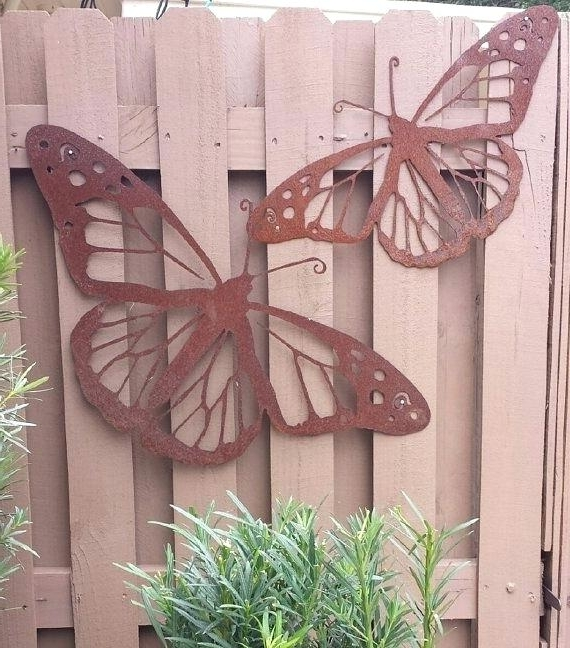 Metal Outdoor Wall Art Butterfly Monarch Butterfly Garden Wall Decor Pertaining To Most Recent 3D Garden Wall Art (View 9 of 15)