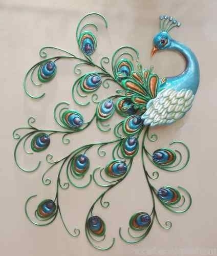 Metal Peacock Wall Art Within Most Popular Pretty Peacock Wall Art Decor Metal Colorful Hanging Bird Sculpture (View 9 of 15)