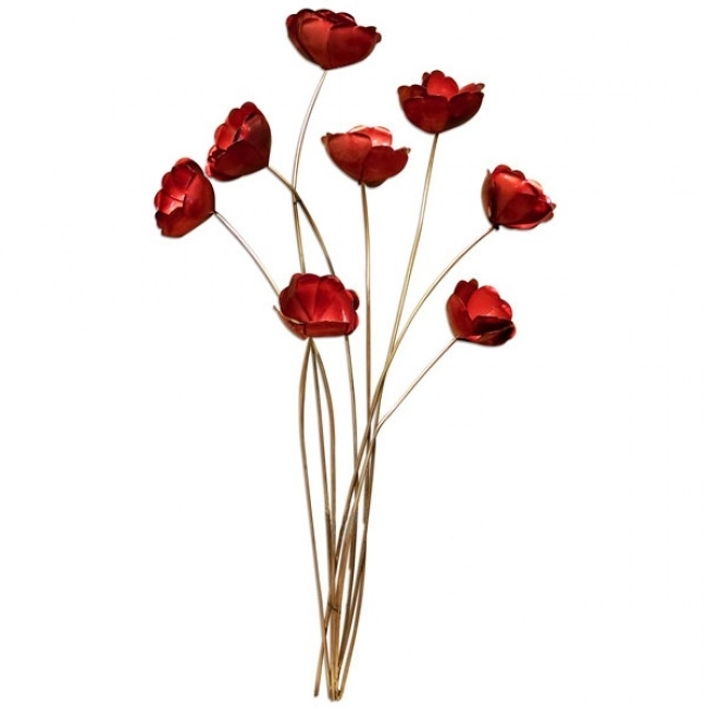 Metal Poppy Wall Art Intended For Most Current Bunch Of Red Poppies Metal Wall Art (View 3 of 15)