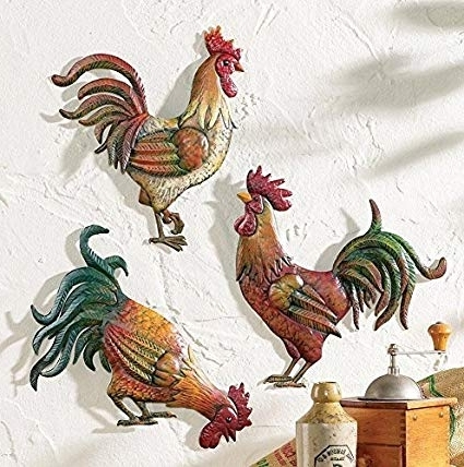 Metal Rooster Wall Decor With Regard To 2018 Amazon: Premium Metal French Country Rooster Wall Art Trio (View 6 of 15)