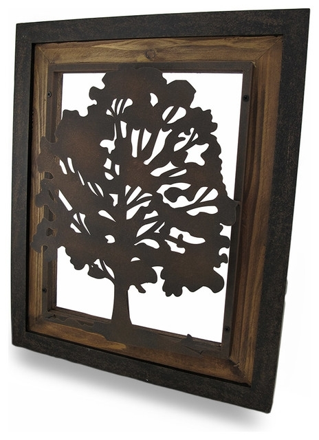 Metal Rustic Finish Tree Silhouette On Wood Frame Wall Hanging Intended For Preferred Metal Framed Wall Art (View 3 of 15)