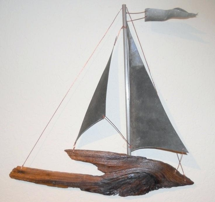 Metal Sailboat Wall Art Pertaining To Famous Metal Sailboat Wall Art Driftwood And Vintage Metal Hanging Sailboat (View 8 of 15)