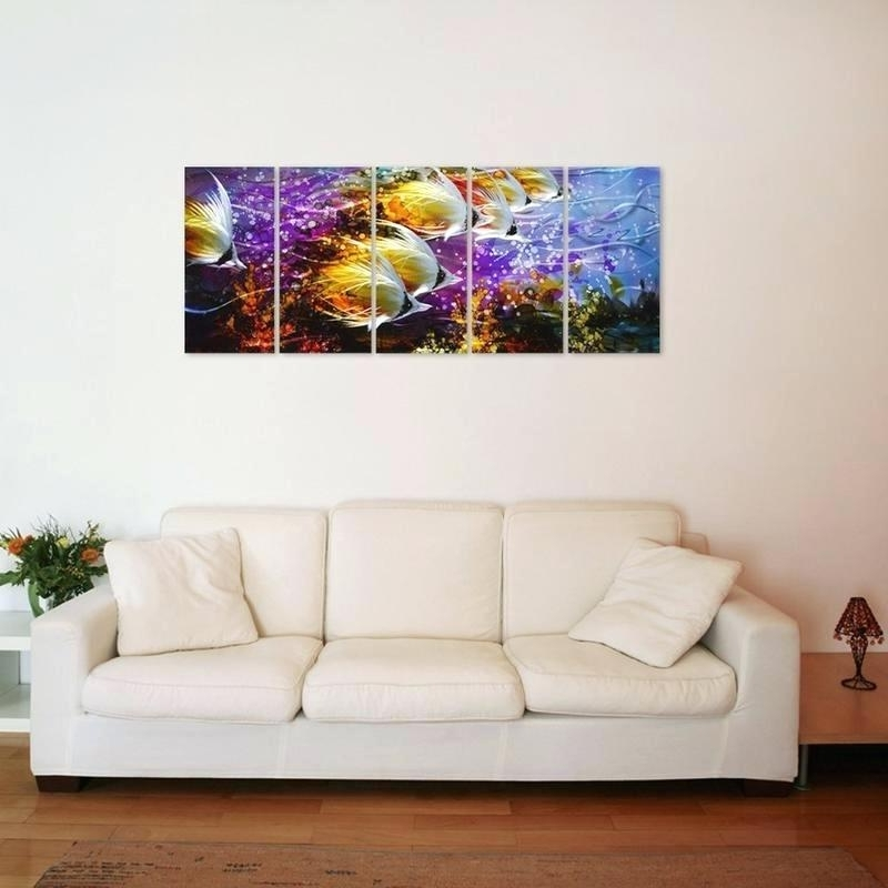 Metal Wall Art Decor 3D Mural With Most Up To Date Wall Art 3D Metal Decor Colorful Tropical School Of Fish Metal Wall (View 8 of 15)