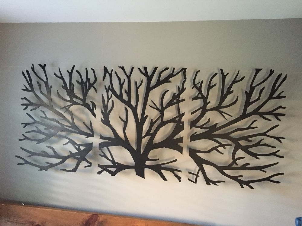 Metal Wall Art Decor 3D Sculpture 3 Piece Tree Brunch Modern Vintage In Most Up To Date Kingdom Abstract Metal Wall Art (View 3 of 15)