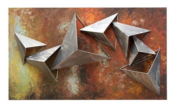 Metal Wall Art Decor 3D Sculpture 3 Piece Tree Brunch Modern Vintage Pertaining To Most Recent Geometric Modern Metal Abstract Wall Art (View 11 of 15)