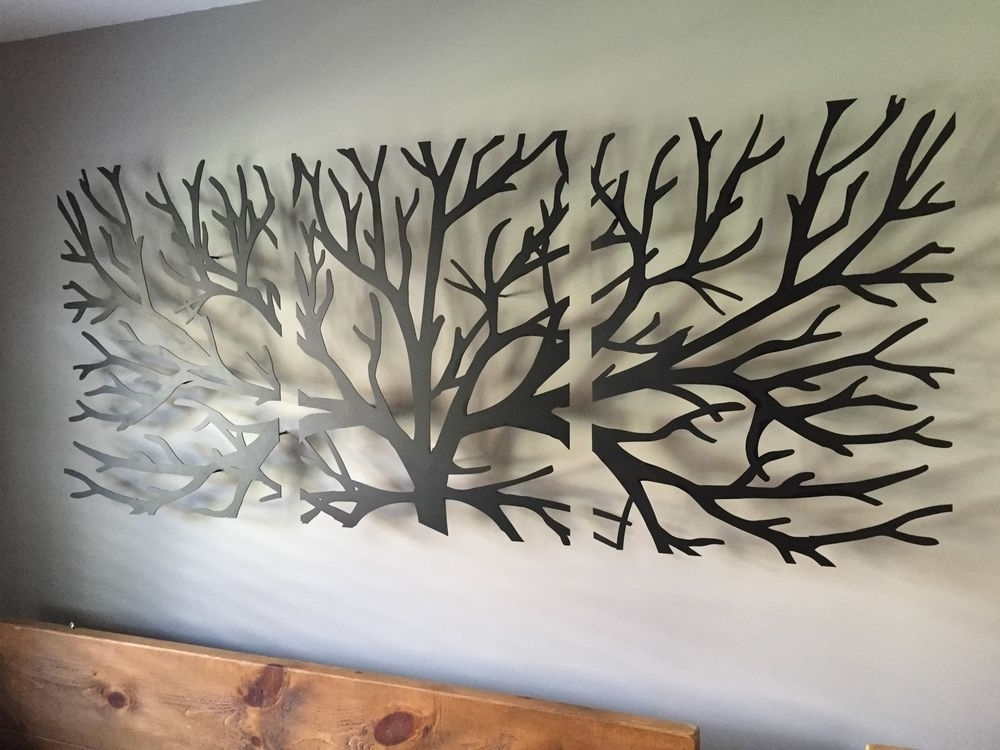 Metal Wall Art Decor 3D Sculpture 3 Piece Tree Brunch Modern With Regard To Most Current Kingdom Abstract Metal Wall Art (View 7 of 15)