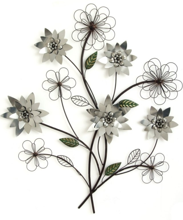 Metal Wall Art – Silver Flower Branch With Regard To Fashionable Abstract Leaf Metal Wall Art (View 11 of 15)