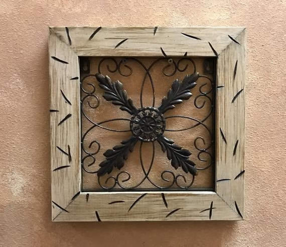 Metal Wall Art Wood Cream Distressed Framed Metal Fleur De Lis (View 6 of 15)