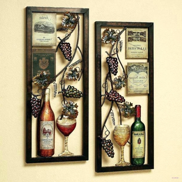 Metal Wine Wall Decor Metal Wine Wall Decor Wine Wall Art Wine Glass With Most Up To Date Wine Metal Wall Art (View 8 of 15)
